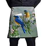 Nicokee Chef Aprons Cute Birds Waist Tie Half Bistro Apron For Home Kitchen Cooking