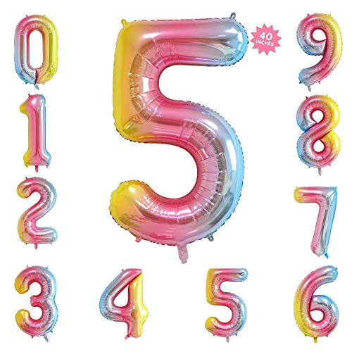 - 40 Inch Rainbow Jumbo Digital Number Balloons 5 Huge Giant Balloons Foil Mylar Number Balloons for Birthday Party,Wedding, Bridal Shower Engagement Photo Shoot, Anniversary