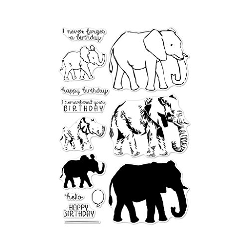 Elephant Stamps - Hero Arts CM224 Clear Stamp Set, Color Layering Elephant, 4