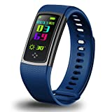 Fitness Tracker, 0.96'' IPS Screen Sports Smart Bracelet, Wateproof Outdoor Sports Watch Waistband, Heart Rate Blood Pressure Monitor, Pedometer Activity Tracker For Android IOS(blue)