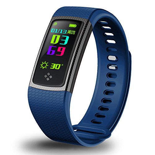 Fitness Tracker, 0.96'' IPS Screen Sports Smart Bracelet, Wateproof Outdoor Sports Watch Waistband, Heart Rate Blood Pressure Monitor, Pedometer Activity Tracker For Android IOS(blue) by Carole4