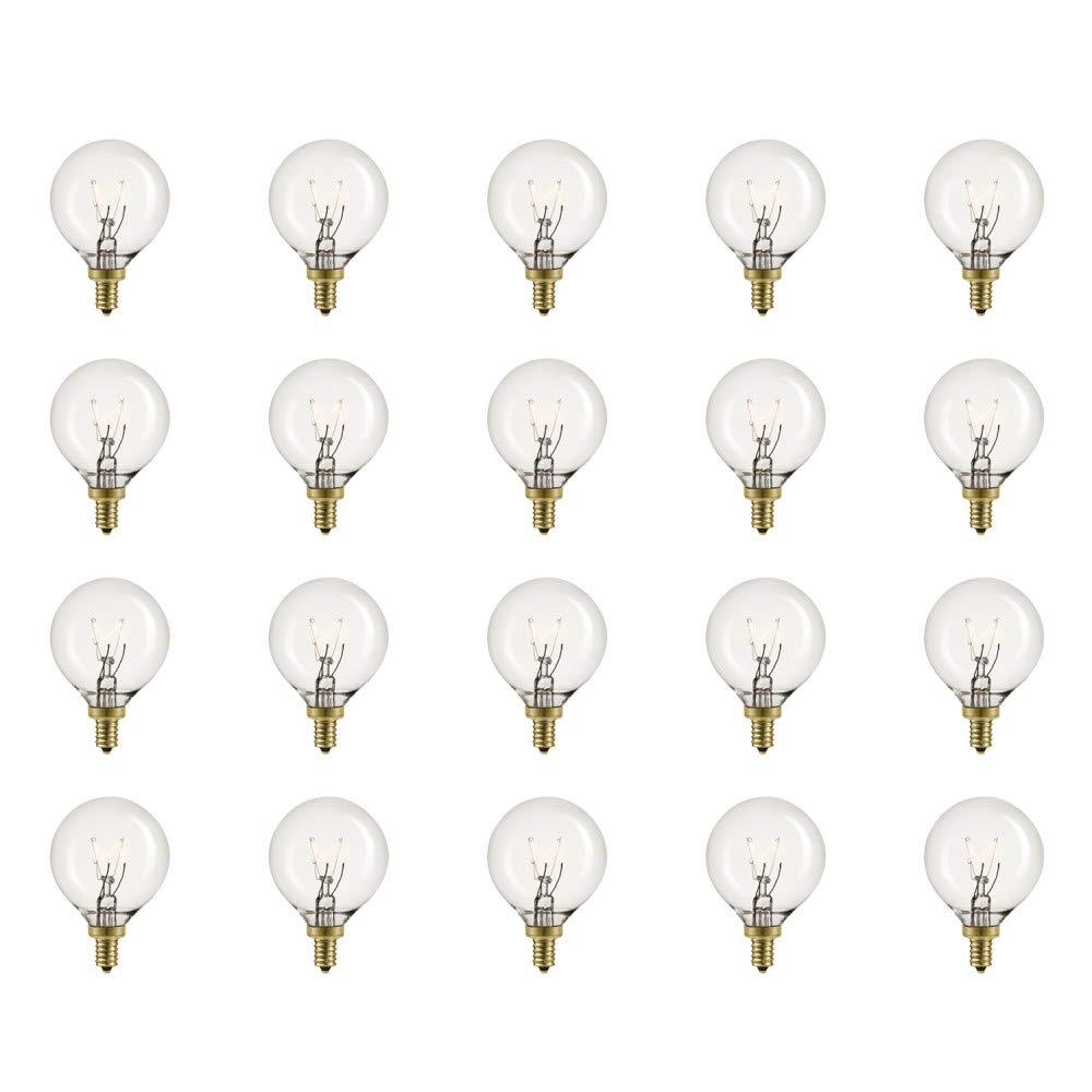 Globe Electric 5Wヴィンテージエジソンミニグローブ調光可能白熱電球 20個パック E12ベース 20ルーメン 80261 B07L5G82YV