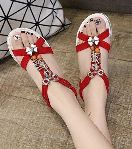 f0afbc7e2ec0c0 ... Minetom Damen Sommer Bohemien Süß Strand Sandals Flache Schuhe Offene  Zehen Klassische Sommerschuhe Sandalen Rot ...