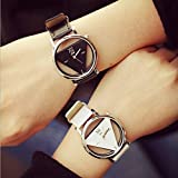 Amyove Fashion Casual Sport Leather Stainless Steel Women Men Analog Quartz Wrist Watch Black