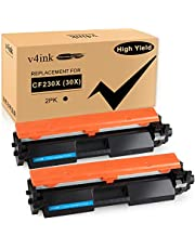 v4ink 2PK Compatible Toner Cartridge Replacement for HP 30X 30A CF230X CF230A Toner High Yield Black Ink for HP Laserjet Pro MFP M203dw M203d M203dn M227fdw M227fdn M227sdn M203 M227 Printer