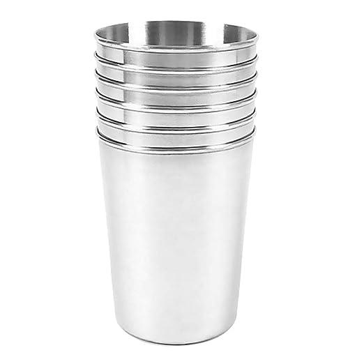 6pcs Vasos de Agua Apilables de Cerveza Taza de Acero ...