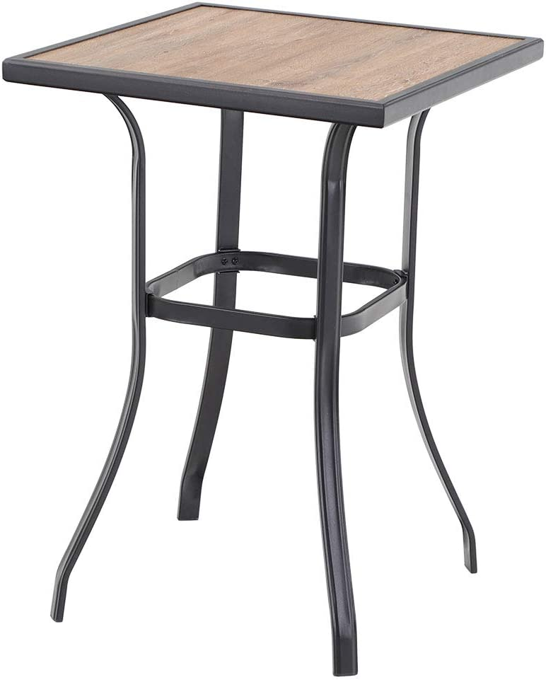 Phi Villa Patio Bar Table Outdoor Bar Height Bistro Table With Wooden Like Top Metal Frame Kitchen Dining