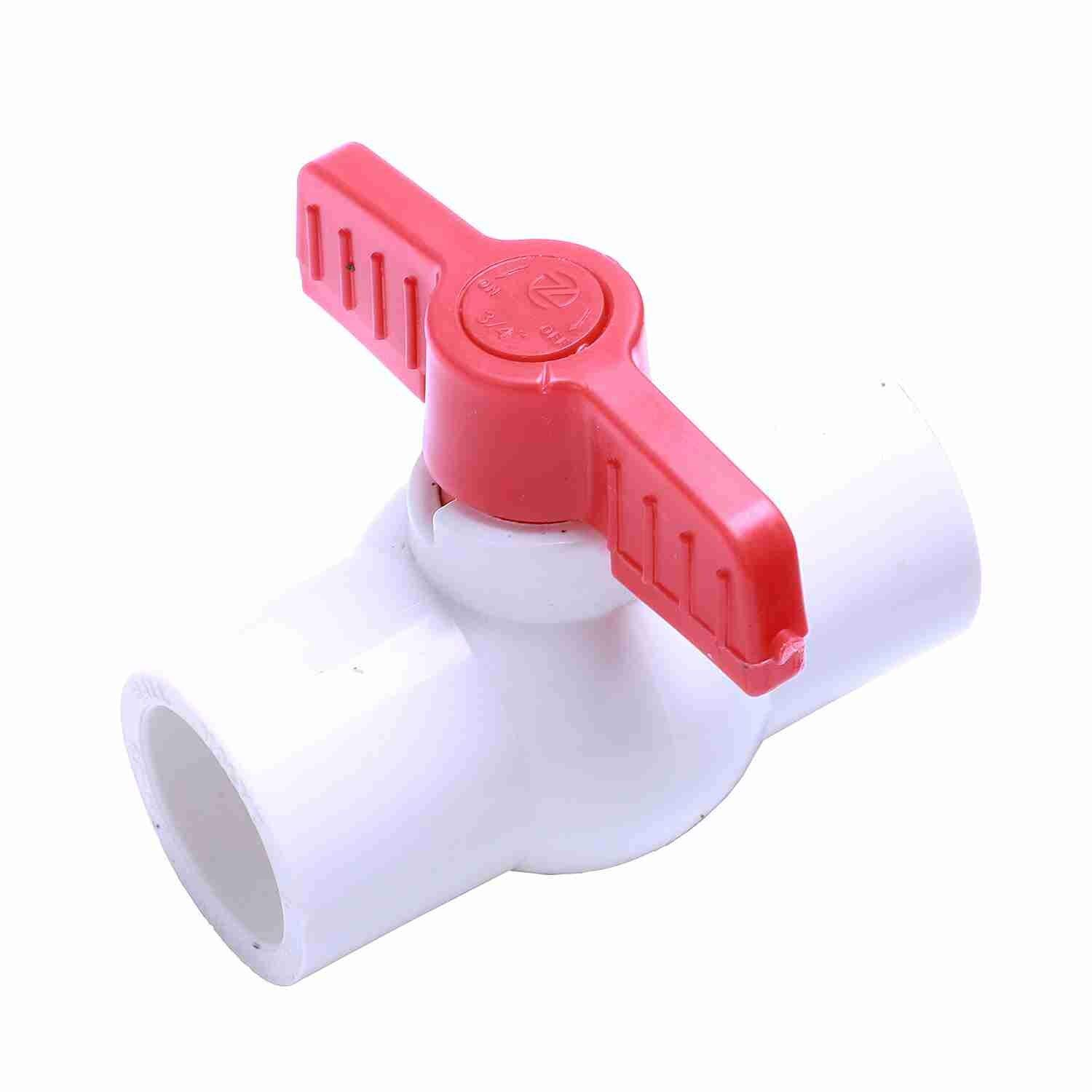 25mm x 25mm Red Handle Double Ports White PVC Pipe Connect Ball Valve