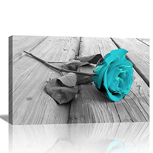 - AMEMNY Large Panel Canvas Wall Art Teal Rose Floral Canvas Wall Art Pictures on Grey Split Wooden Floor Modern Flower Prints Paintings Turquoise Artwork Home Decor (24inchx36inch, ZLA1Artwork 1)