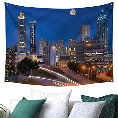 Cosmopolitan Maps Wall (Landscape Wall Tapestry Cosmopolitan Cityscape 72W x 54L Inch,Home Decorations for Living Room Bedroom)