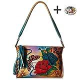 Anuschka Shoulder Handbag - Hand Painted Design on Real Leather - Free Purse Holder (Top Zip Rose Safari)