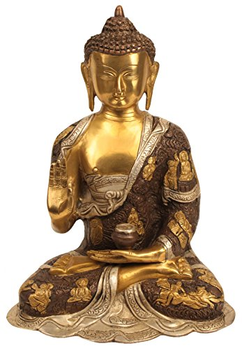 Aone India 12'' Large Vitarka Mudra Buddha Statue Metal Brass Sculpture Buddha Statue Home Decor Gift + Cash Envelope (Pack Of 10) by AONE INDIA