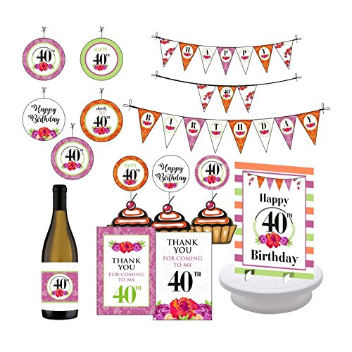 40th Birthday Party Decorations. 40th Birthday Supplies. Celebrate 40. Forty and Fabulous. Includes Champagne Wrapper, Centerpieces, Bunting Banner, Danglers, Thank you Cards and Cupcake Toppers.