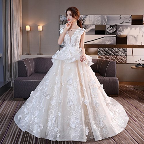 Braut Große S Ansatzhochzeitskleid V Luxuspalast Qi Schwanzspitzeprinzessin Heiratete Boden DHG wqYZvxPP