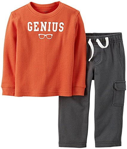 Heritage Long Sleeve Thermal Tops - Carter's 2 Piece Thermal Top Set (Baby) - Orange-6 Months