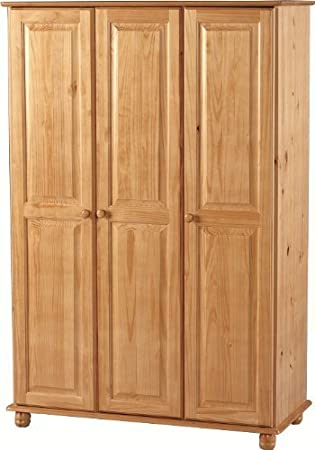 Pine Wardrobe  Doors and Bun Turned Feet - Hampshire Solid Pine