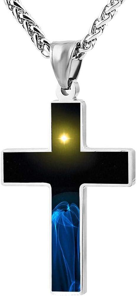 Quensk The Beautiful Starry Sky Cross Necklace Christ Necklace Pendant Cross Prayer Fashion Accessories for Men Women