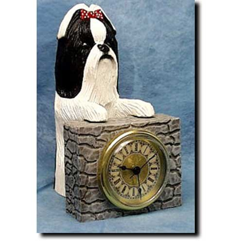 Michael Park BLACK and WHITE Shih Tzu Mantle (Dog Mantle Clock)