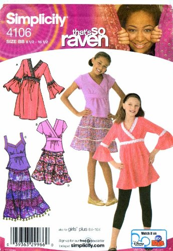 Simplicity 4106 Sewing Pattern Girls Tiered Skirt Dress Top Plus Size 8 1/2 - 16 1/2