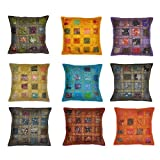 Stylla London Set of 10 Indian Handmade Vintage Embroidery Sari Patchwork Cushion Cover Decorative Pillow Cover 40 x 40 cm