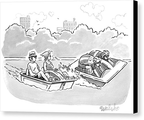 """""""Two Stroll-de-france Like Cyclists In A Paddleboat"""" by Liam Walsh, New Yorker, June 20th, 2016, Canvas Print"""