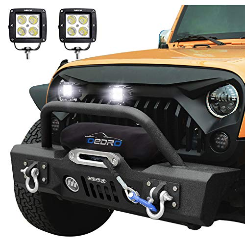 OEDRO Front Bumper Stubby Compatible for 2007-2018 Jeep Wrangler JK With 2 LED Fog Lights Upgraded Textured Black Rock Crawler Off Road With Fog light Hole & Winch Plate