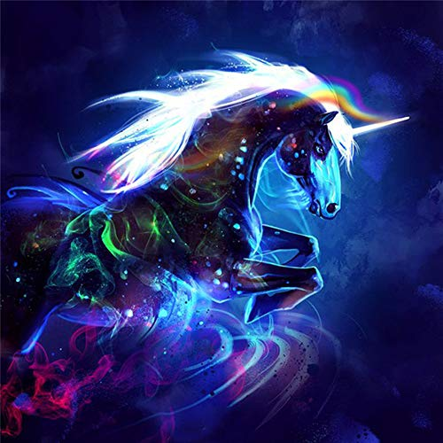 (Paint by Number Kits - Colorful Unicorn 16x20 Inch Linen Canvas Paintworks - Digital Oil Painting Canvas Kits for Adults Children Kids Decorations Gifts (No Frame) )