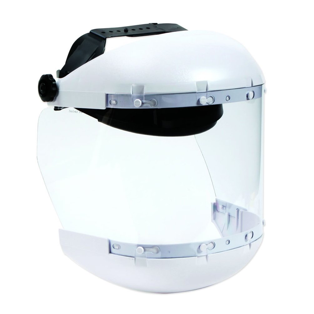 Sellstrom S31140 Medical/Laboratory White Plastic Crown/Chin Guard and Clear Anti-Fog Window Protective Faceshield with Ratchet Headgear, Made in USA