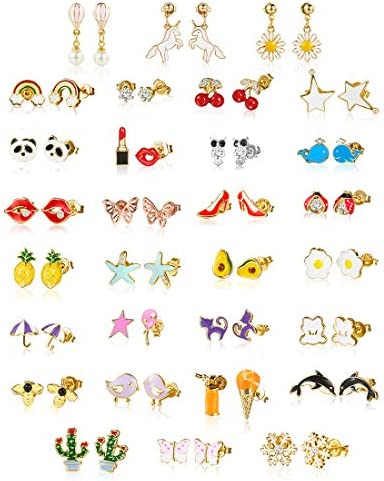 minihope 30 Pairs 18K gold plated earrings Kids,Hypoallergenic earrings for women delicate ears, Fashion earrings for youngster women,earring units for girls.