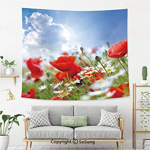 Country Decor Wall Tapestry,Idyllic Spring Meadow with Poppy and Daisy Flowers Sunny Sky Clouds Garden Decorative,Bedroom Living Room Dorm Wall Hanging,80X60 Inches,Multicolor