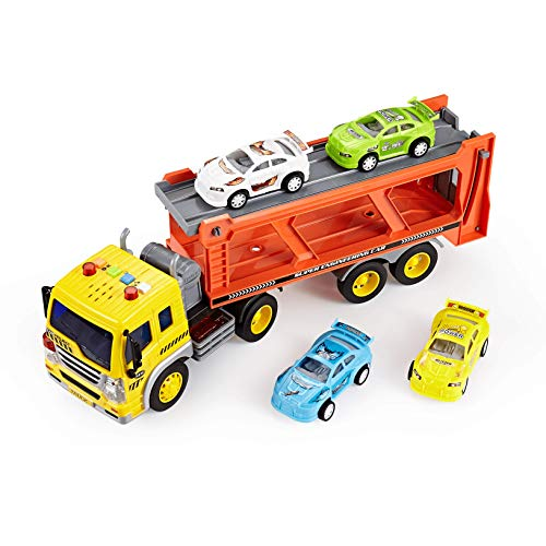 Think Gizmos Friction Toys for Boys & Girls - Toy Trucks for Toddlers (Transporter Truck) (Car Hauler Truck And Trailer For Sale)