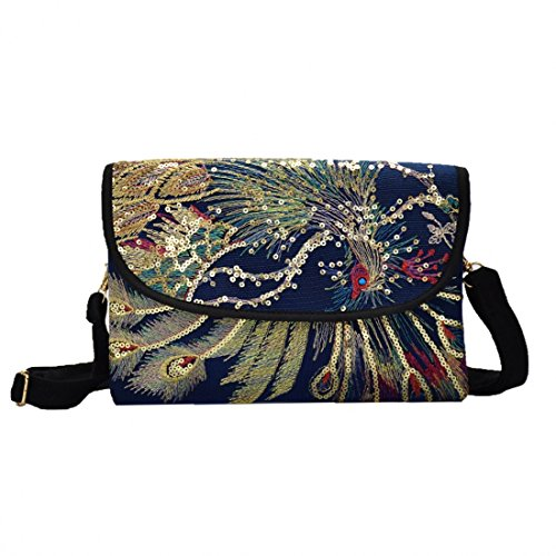 Pocket Blue Functional Crossbody Strap Mutil Adjustable with Bag Embroidery ZqROnRFw