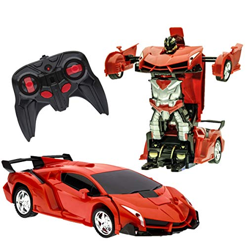 Transformation Car Toy Remote Controller Model Transformer One button Deformation for Boys Kids Children Electric Car, RC Transform into Robot 360° Rotating with LED Speed Drifting 1:18 Scale -