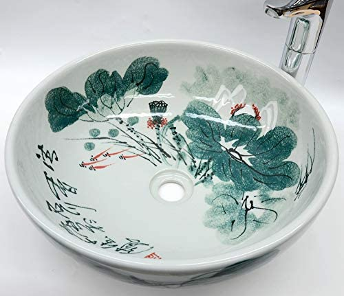 Tradicional pintura china hecha a mano vintage ba/ño guardarropa cer/ámica encimera lavabo lavabo lavabo