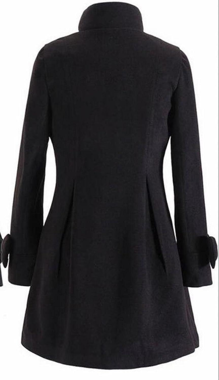 Acquaa Women's Casual Slim Bow Mid Woolen Coat Jacket Overcoat