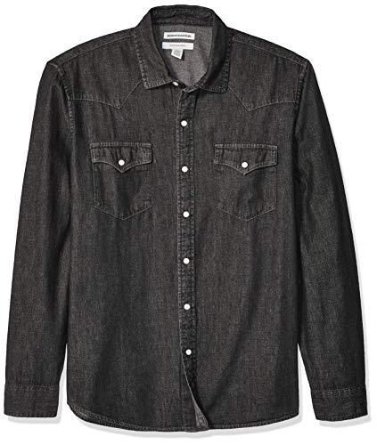 Amazon Essentials Men's Standard Regular-Fit Long-Sleeve Denim Shirt, Black, XX-Large