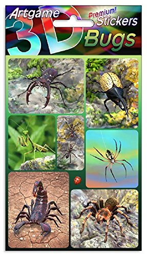 Stickers Lenticular (Bugs 3D Lenticular Stickers by Artgame - One Sheet of 7 Assorted Stickers Including Insects, Spiders and Scorpion)