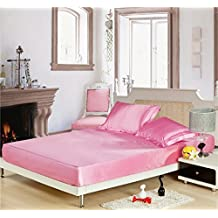 Zhiyuan Solid Color Silky Satin Bedding Fitted Sheet 2 Pillowcases Set, Queen, Pink
