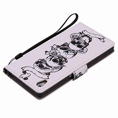 Custodia Sony Xperia Z5 Cover Case, Ougger Portafoglio PU Pelle Magnetico Stand Morbido Silicone Flip Bumper Protettivo Gomma Shell Borsa Custodie con Slot per Schede, Skull