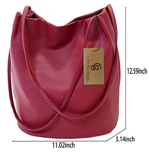 Bag Purse Leather Womens Red Bags Handbags Shoulder Bucket Dark Tote Hobo dSICqd