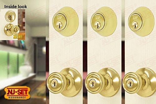 NUSet Contractor Combo Lockset, 3 Sets of Keyed Entry Door Lock with Single Cylinder Deadbolt, Same Key, Polish Brass