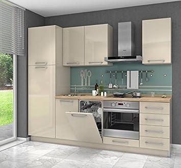 Küchenzeileküchenblock Fagali 12 7 Teilig Farbe Creme Hochglanz