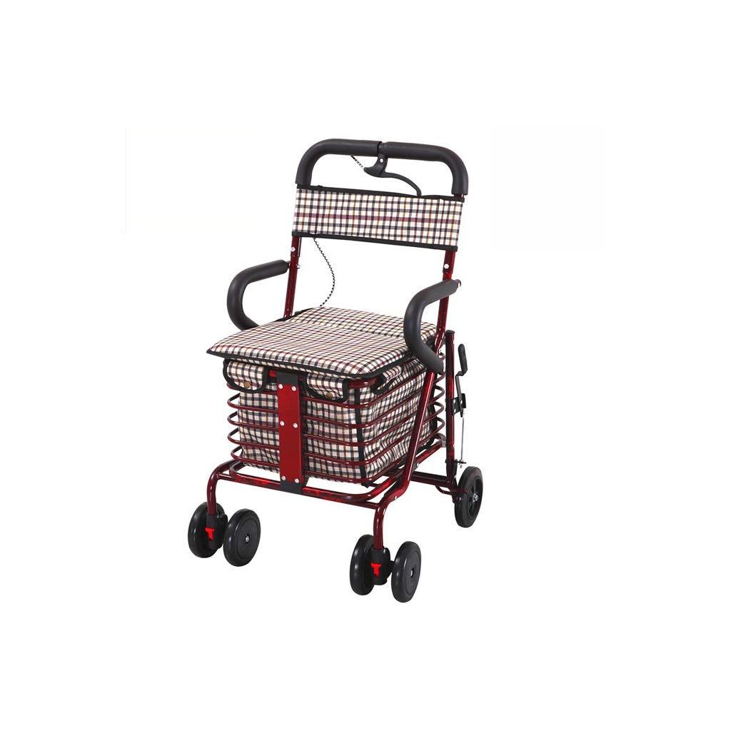 Lxrzls Old Man Shopping Cart - Lightweight Folding 6 Wheel Shopping Cart - Shopping Trolley with Seat