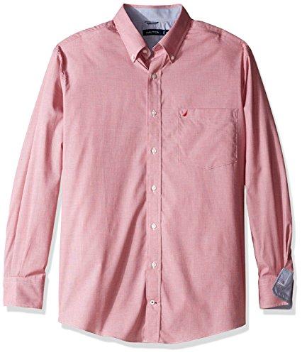 Tencel Shirt Dress (Nautica Men's Big and Tall Wrinkle Resistant Houndstooth Ls Dress Shirt, Nautica Red,)
