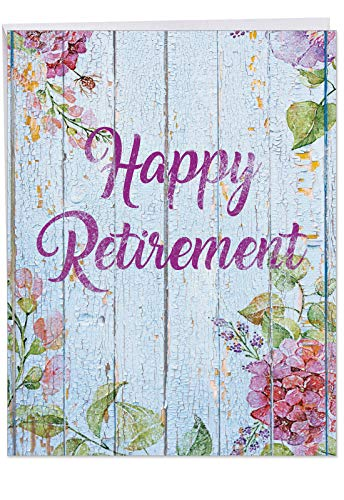 XL Blooming Driftwood Happy Retirement From Us - Congratulations Greeting Card with Envelope (Large 8.5 x 11 Inch) - Appreciation Notecard with Flowers - Stationery for Boss, Coworker J6108JRTG-US]()