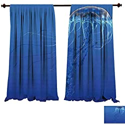 fengruiyanjing-Home Thermal Insulated Grommet Blue Spotted Jelly Fish Aquarium Life Marine Animals Predator in Deep Water Aquatic Blue Blackout Curtains for Bedroom (W84 x L84 -Inch 2 Panels)