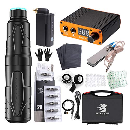 Solong Tattoo Rotary Tattoo Machine Pen 1 Tattoo Battery 20PCS Needles Cartridges Bandage Aftercase Tattoo Film RCA Wirless Power Supply with Case EM138P192EN07KIT-1