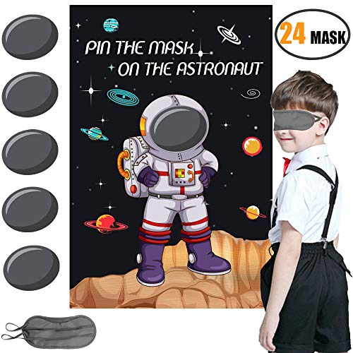 Space Themed Game Party Supplies,Solar System Out Space Planet Birthday Party Supplies Decorations for Kids Pin the Mask on the Astronaut Game -