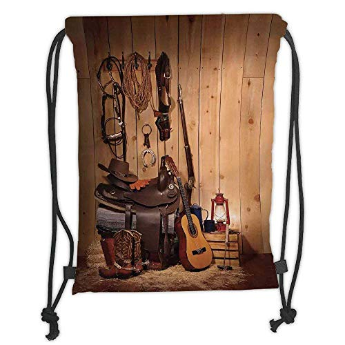 Custom Printed Drawstring Backpacks Bags,Western Decor,American Texas Style Country Music Guitar Cowboy Boots USA Folk Culture,Cream and Brown Soft Satin,5 Liter Capacity,Adjustable String ()