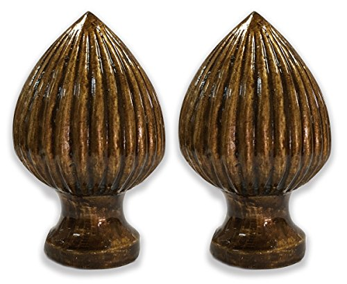 Royal Designs Acorn Shaped Antique Brass Lamp Finial 2pk - Finial Brass Lamp Shaped Antique